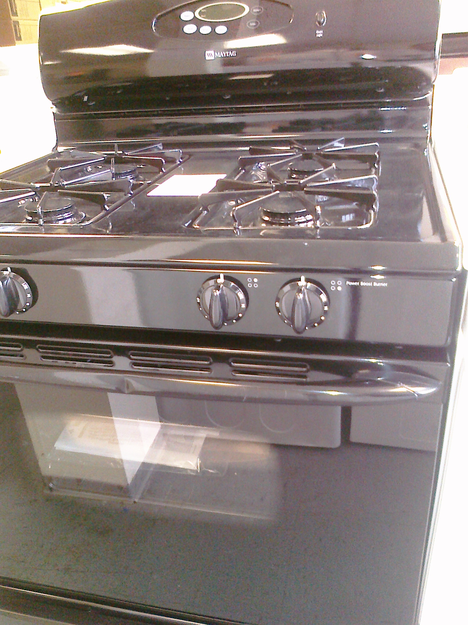 (9) Maytag MGR4451BDB 30″ Gas Range, Clock, Window, Black