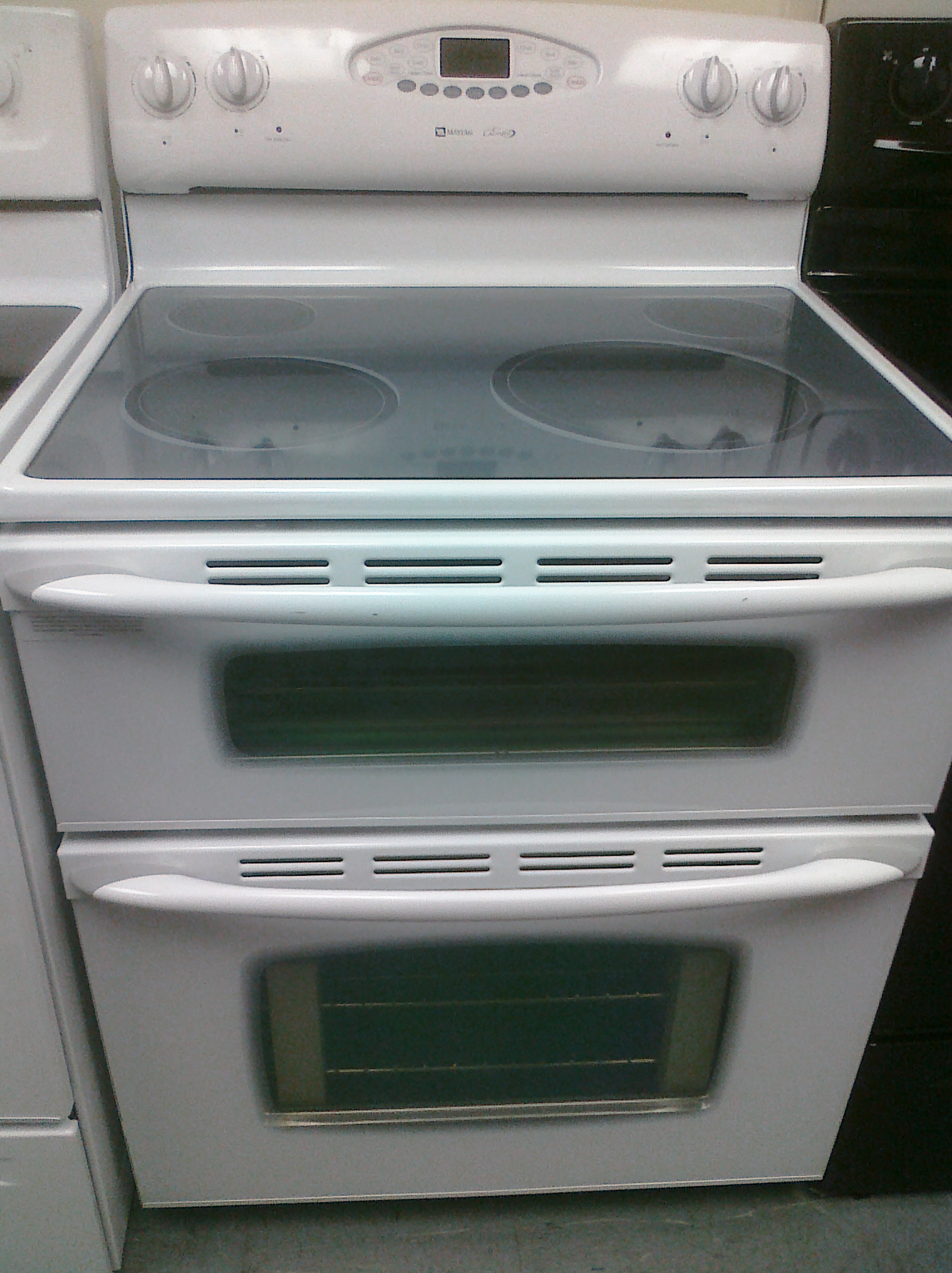 (9) Maytag MER6755AAW Gemini Freestanding Glass-Top Electric Double-Oven Range, White