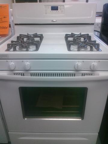 (9) Whirlpool WFG361LVQ 30″ Free-Standing Gas Range with Clock and Window, White