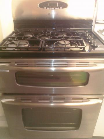 (9) Maytag MGR6775BDS Gemini Free-Standing Five-Burner, Self-Clean Double-Oven Gas Range, Stainless Stel