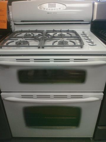 (9) Maytag MGR6775BDW 30″ Free-Standing Gemini Gas 5-Burner Double-Oven Self-Cean Range, White