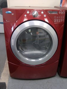 (9) Whirlpool Duet WGD9450WR Front-Load Gas Dryer, Red