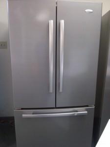 (8) Whirlpool Gold GX5SHDXVD 24.8 CuFt French-Door Refrigerator, Silver Mist