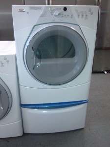 (9) Whirlpool WGD8410SW Duet Sport Gas Dryer, White with XHPC155XW 15″ Pedestal!