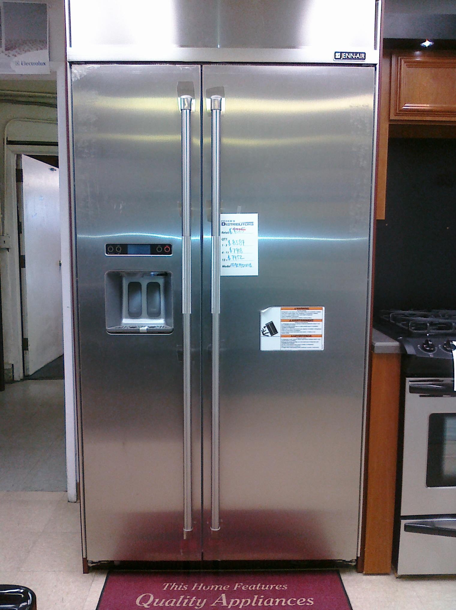 (10) Jenn Air JS42PPDUDB Built-In Side-By-Side Refrigerator, Stainless Steel