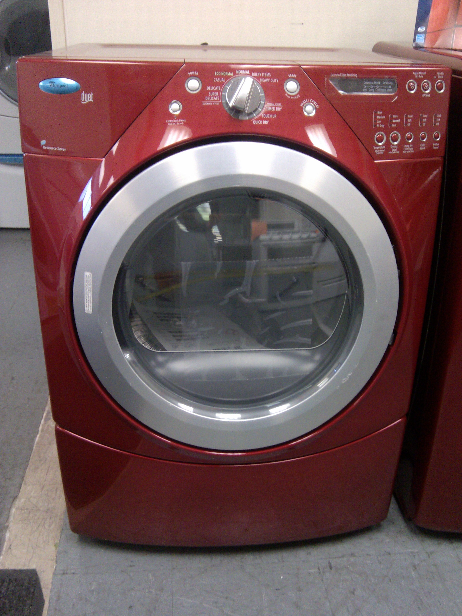 9 Whirlpool Duet Wgd9450wr Front Load Gas Dryer Red